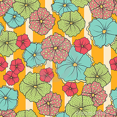 Seamless Flowers And Stripes Pattern