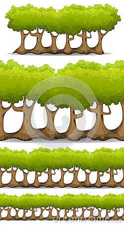 Seamless Forest Trees, Hedges And Bush Set For Game Ui Vector Illustration