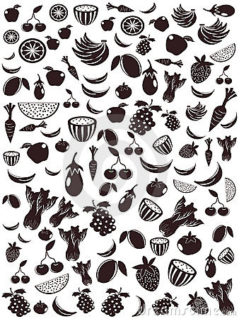 Seamless fruit and vegetable patterns