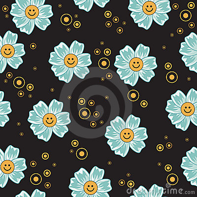 Seamless funny flowers