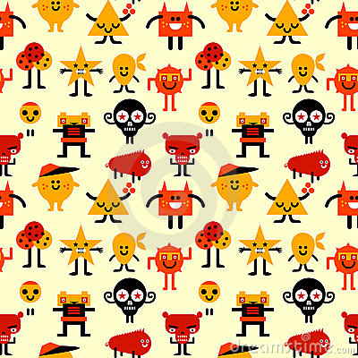 Seamless funny monsters pattern