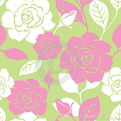 Seamless Garden Rose Pattern