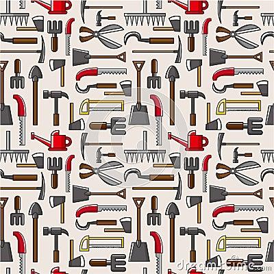 Seamless garden tool pattern