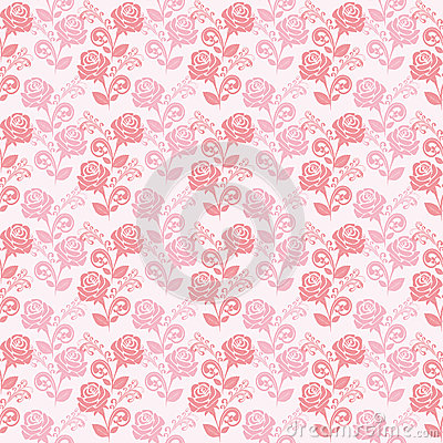 Seamless gently-pink wallpaper with roses.