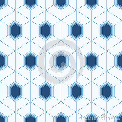 Seamless geometric abstract pattern of colorful hexagons. Vector Illustration