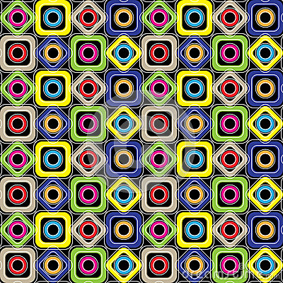 Free Seamless Geometric Pattern. Diamonds, Circles, Squares With Rounded Corners On A Black Background. Vector. Stock Images - 46146544