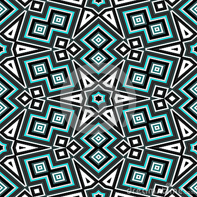 Free Seamless Geometric Pattern In Black And Turquoise Stock Photo - 46964480