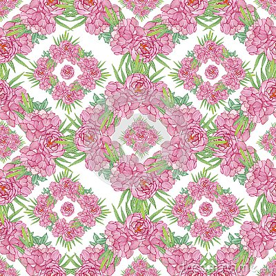 Seamless geometric pattern with peony Stock Photo