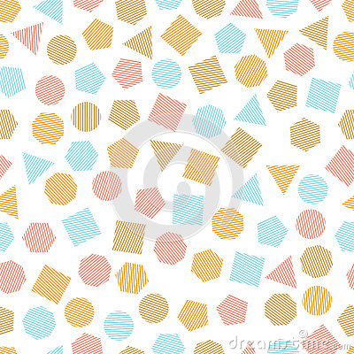 Free Seamless Geometric Pattern With Multicolored Squares, Triangles, Circles, Pentagons, Hexagons And Heptagons For Tissue And Postca Stock Photos - 94291743
