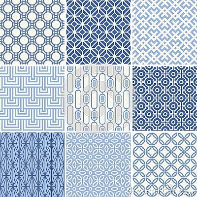 Free Seamless Geometric Patterns Set Royalty Free Stock Photo - 47538785
