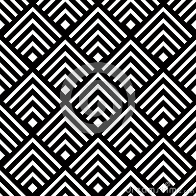 Seamless geometric vector background, simple black and white str Vector Illustration