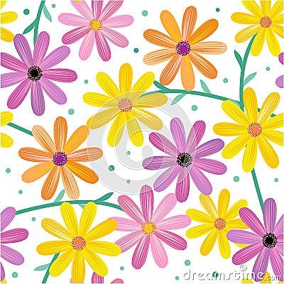 Free Seamless Gerbera Flowers Pattern Royalty Free Stock Image - 20064876