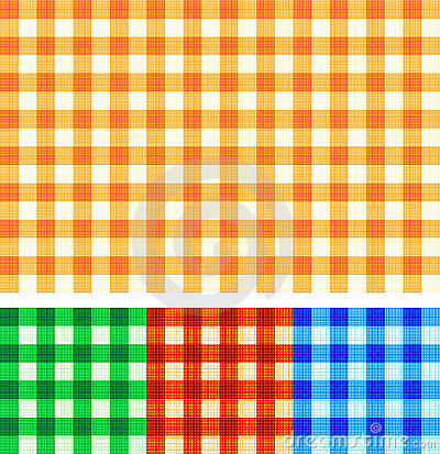 Seamless gingham checked patterns of autumn colors