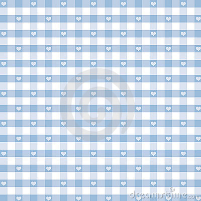 Seamless Gingham & Hearts, Pastel Blue