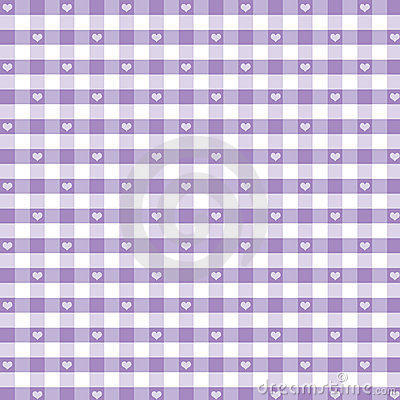 Seamless Gingham & Hearts, Pastel Lavender