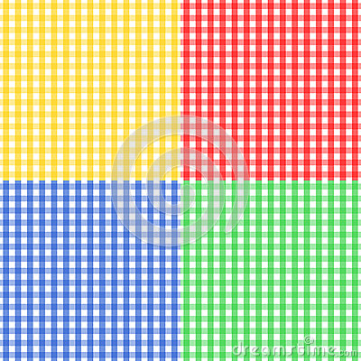 Seamless gingham pattern in four colors