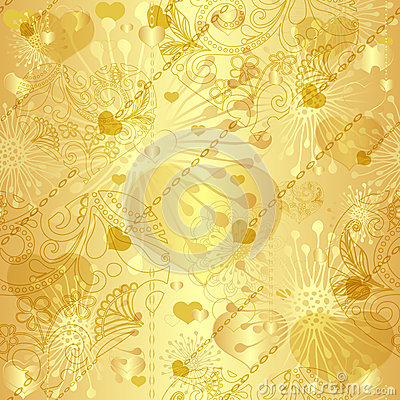 Free Seamless Gold Valentine Pattern Royalty Free Stock Image - 29089606