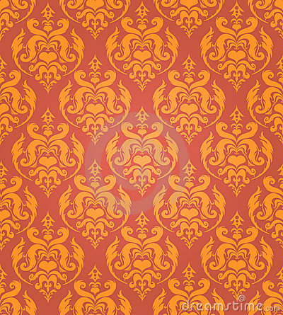 Seamless golden damask background