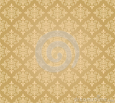 Seamless golden floral wallpaper pattern