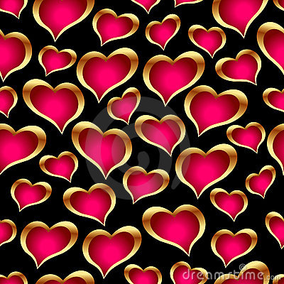 Free Seamless Golden Hearts Royalty Free Stock Photography - 4149637