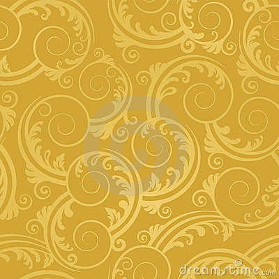 Free Seamless Golden Swirls And Leaves Wallpaper Royalty Free Stock Images - 17202659