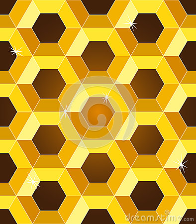 Seamless golden yellow honeycomb pattern