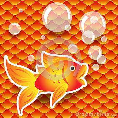 Seamless goldfish over fish scale pattern
