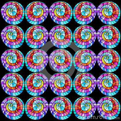 Seamless graphic pattern colored curls.