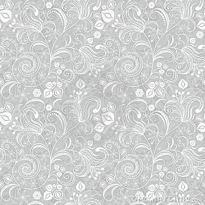 Free Seamless Gray Floral Pattern Stock Photography - 23749812