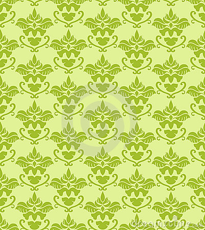 Seamless green damask background