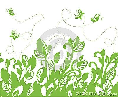 Seamless green foliage border