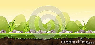Seamless Green Landscape For Game Ui Vector Illustration