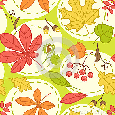 Seamless green pattern with autumn leaves