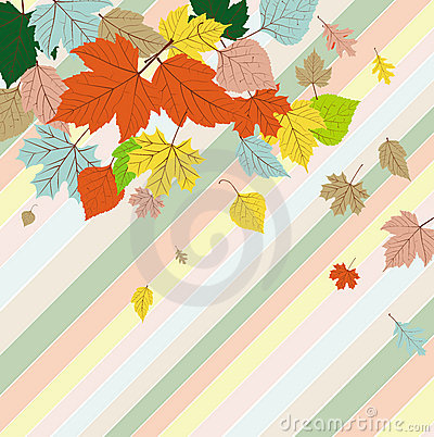 Seamless greetings card with autumn leaves
