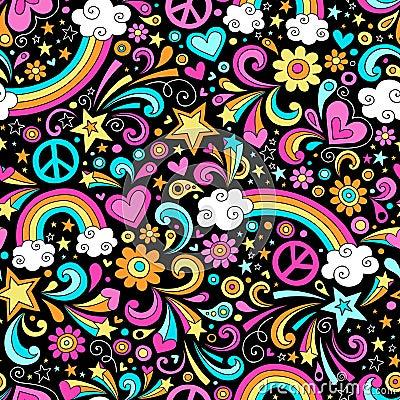 Seamless Groovy Rainbow Peace and Love Pattern Vec