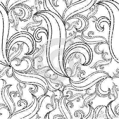 Seamless grunge abstract twirl pattern