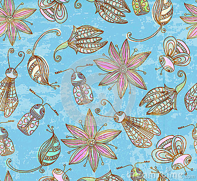 Seamless grunge background with cute insects