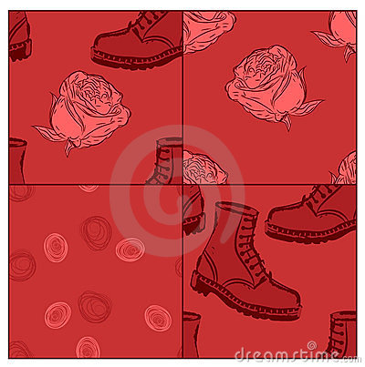 Seamless grunge backgrounds with boots and roses