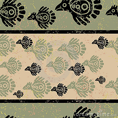 Seamless grunge Mexican pattern
