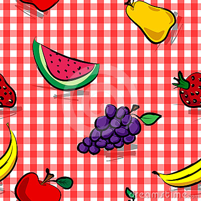 Seamless grungy fruits over red gingham pattern