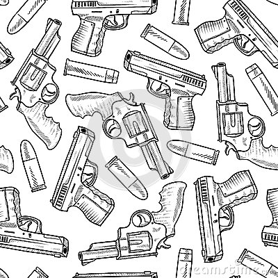 Seamless handgun vector background