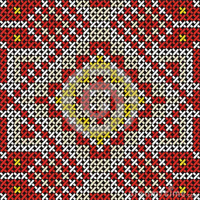 Seamless handmade cross-stitch ethnic pattern