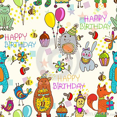 Seamless Happy birthday cartoon background
