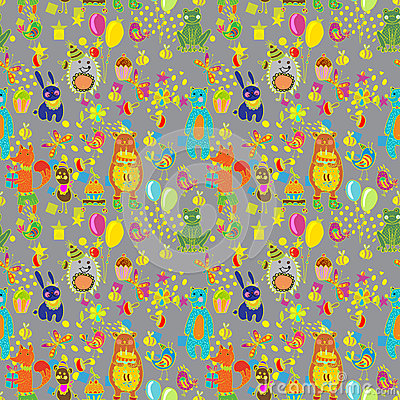 Seamless Happy birthday cartoon background