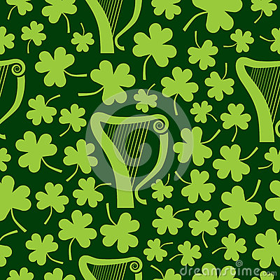 Seamless Harp and Shamrocks