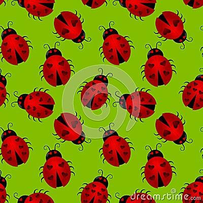Seamless Heart Ladybugs Background