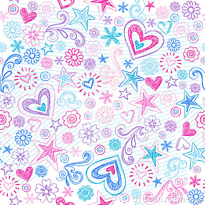 Seamless Hearts & Stars Sketchy Doodles Pattern