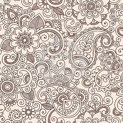 Free Seamless Henna Paisley Flowers Pattern Vector Illu Stock Photo - 28440660