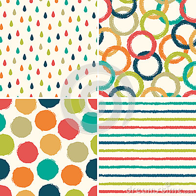 Free Seamless Hipster Background Patterns In Retro Colors Royalty Free Stock Photography - 36422817