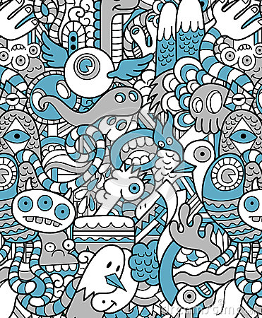 Free Seamless Hipster Doodle Monster Pattern Stock Image - 31718711
